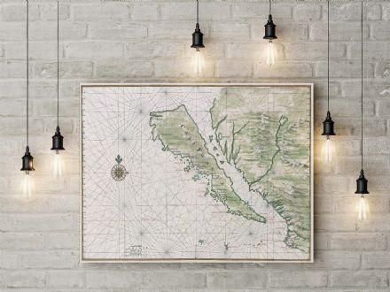 Johannes Vingboons: Map of California Shown as an Island. Fine Art Canvas.